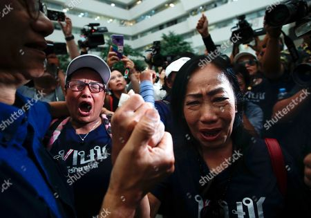 Supporters break into tears after the Constitutional Court ordered the dissolution of the party for nominating a Thai princess as a prime minister candidate, at the Constitutional Court in Bangkok, Thailand, 07 March 2019. Thai Constitutional Court ordered the dissolution of Thai Raksa Chart Party for nominating Princess Ubolratana as its prime minister candidate for the general election. The court also decided to impose a political ban on 14 party executives for 10 years.