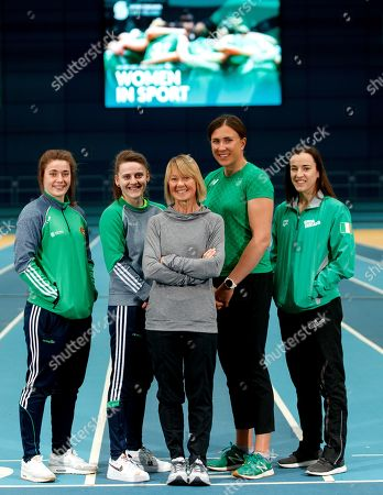 Sport Ireland today launched a new Women in Sport Policy which aims to achieve equal participation between males and females in sport. Coaching and Officiating, Active Participation, Leadership and Governance and Visibility are the four key target areas that will be addressed by Sport Ireland's new Women in Sport Policy. Pictured are (L-R) Grainne Walsh (Boxing), Michaela Walsh (Boxing), Carey May (former Irish Marathon Olympian), Annalise Murphy (Sailing) and Clare Ryan (Swim Ireland)