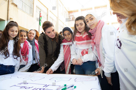 Her Majesty Queen Rania Al Abdullah launched online educational platform Edraak's mathematics curricula for kindergarten to grade five (K-5) at Sweifieh Secondary School for Girls.