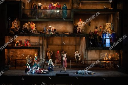 Stock Image of Actress Susanne Elmark (C) in the role 'Inanna', Actress Mojca Erdmann (R) in the role 'The soul' and members of the state Opera choir during the rehearsal for the opera 'Babylon' at the Staatsoper Berlin in Berlin, Germany, 05 March 2019. (issued 07 March) 'Babylon' will have its premiere on the 9th of march in Berlin.