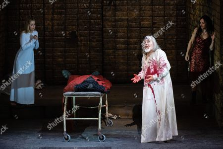 Stock Photo of Mojca Erdmann in the role 'The soul', actor Charles Workmann in the role 'Tammu', actor John Tomlinson in the role 'The priest king' and actress Susanne Elmark in the role 'Inanna' during the rehearsal for the opera 'Babylon' at the Staatsoper Berlin in Berlin, Germany, 05 March 2019. (issued 07 March) 'Babylon' will have its premiere on the 9th of march in Berlin.
