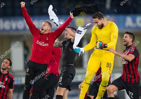 AC Milan's Ignazio Abate, Gianluigi Donnarumma and Mateo Musacchio celebrate their team's victory.