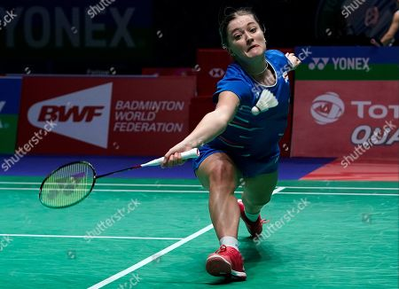 England's Jessica Pugh in action during her doubles Round of 16 match with teammate Ben Lane against England's Gabrielle Adcock and Chris Adcock at the All England Open Badminton Championships at the National Indoor Arena, Birmingham, Britain, 07 March 2019.