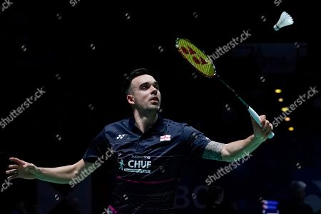 England's Chris Adcock in action during his doubles Round of 16 match with teammate Gabrielle Adcock against England's Ben Lane and Jessica Pugh at the All England Open Badminton Championships at the National Indoor Arena, Birmingham, Britain, 07 March 2019.