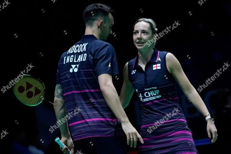 England's Gabrielle Adcock (R) and Chris Adcock (L) in action during their doubles Round of 16 match against England's Ben Lane and Jessica Pugh at the All England Open Badminton Championships at the National Indoor Arena, Birmingham, Britain, 07 March 2019.