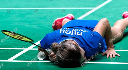England's Jessica Pugh reacts after losing a point during her doubles Round of 16 match with teammate Ben Lane against England's Gabrielle Adcock and Chris Adcock at the All England Open Badminton Championships at the National Indoor Arena, Birmingham, Britain, 07 March 2019.