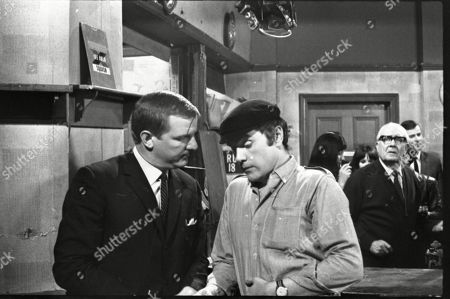 Jed Stone (Kenneth Cope) is arrested and leaves Coronation Street on Minnie Caldwell's Birthday. He would not return to the Street until 2008. Derek Newark (as Det Con Bill Sharp), Kenneth Cope (as Jed Stone) and Arthur Leslie (as Jack Walker)