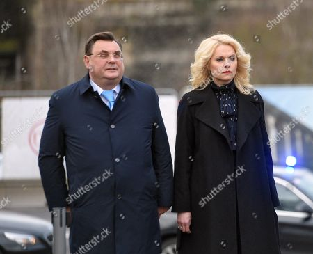 Deputy Prime Minister of Russia - Head of the Government Office of Russia Konstantin Chuychenko and Deputy Prime Minister of Russia Tatyana Golikova during a flower-laying ceremony at the National Monument of Solidarity.