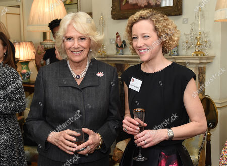 Cathy Newman poses with Camilla Duchess of Cornwall, President of WOW - Women of the World, as she hosts a reception for the organisation at Clarence House