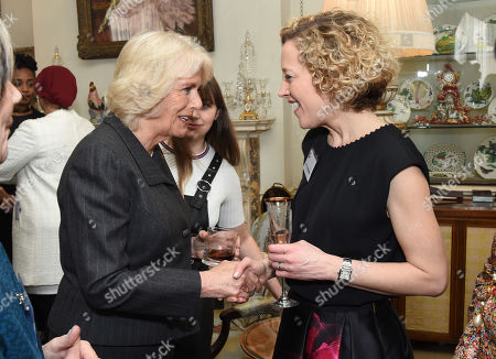 Cathy Newman chats with Camilla Duchess of Cornwall, President of WOW - Women of the World, as she hosts a reception for the organisation at Clarence House