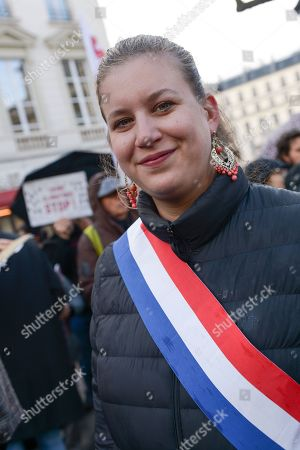 Mathilde Panot of La France Insoumise LFI in attendance during the demonstration in front of the National Assembly in Paris, to highlight the climate issue.