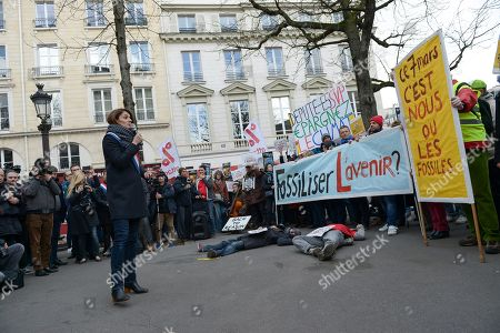 Stock Picture of Elsa Faucillon Deputy communist Party PCF of Hauts de Seine speaking during the demonstration in front of the National Assembly in Paris, to highlight the climate issue.