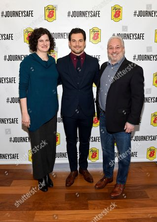 Janet Kennedy, Giacomo Gianniotti, Mike Mueller. Giacomo Gianniotti, center, philanthropist and actor, Dr. Janet Kennedy Ph.D.,left, sleep expert and licensed clinical psychologist and Mike Mueller, right, Super 8 brand senior vice president, pose at Super 8 by Wyndham's #JourneySafe event on in New York. The #JourneySafe campaign launches during National Sleep Awareness Month and helps raise awareness and educate the public of the dangers of drowsy driving. Visit Super8.com/journeysafe to learn more