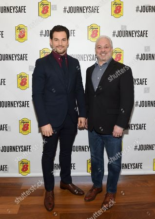 Giacomo Gianniotti, Mike Mueller. Giacomo Gianniotti, left, philanthropist and actor, and Mike Mueller, Super 8 brand senior vice president, pose at Super 8 by Wyndham's #JourneySafe event on in New York. The #JourneySafe campaign launches during National Sleep Awareness Month and helps raise awareness and educate the public of the dangers of drowsy driving. Visit Super8.com/journeysafe to learn more