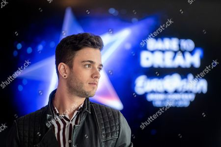 Luca Haenni poses at his announcement of the Swiss contribution to the 64th annual Eurovision Song Contest at the television studio in Zurich, Switzerland, 07 March 2019. Haenni will represent Switzerland with his song 'She Got Me' in the ESC 2019 that will be held in Tel Aviv, Israel from 14 to 18 May.