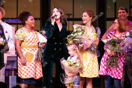 Marisha Wallace (Becky), Sara Bareilles (Music/Lyrics), Arabella Duffy (Lulu), Katharine McPhee (Jenna Hunterson), Laura Baldwin (Dawn) and Jack McBrayer (Ogie) during the curtain call during the curtain call