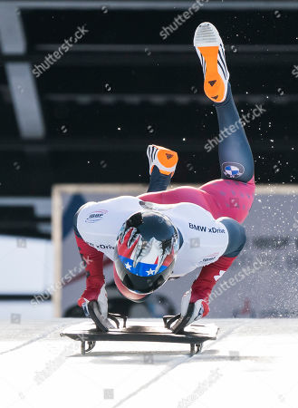 Greg West of The United States competes in the Men's Skeleton event at the IBSF Bobsleigh & Skeleton World Championships in Whistler, Canada, 07 March 2019.