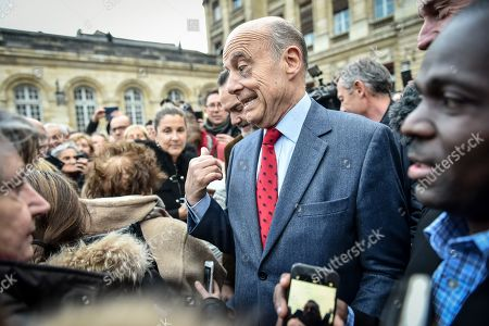 Former Bordeaux's mayor Alain Juppe, says goodbye to Bordeaux's inhabitants at Bordeaux's city hall. Alain Juppe resigned from his mayor position and will become member of the Constitutional Council, the country's highest constitutional authority