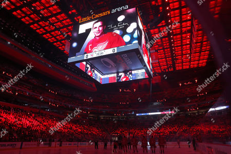 An image of former Detroit Red Wings player Ted Lindsay, who died earlier in the week, is shown during a moment of silence before the team's NHL hockey game against the New York Rangers, in Detroit