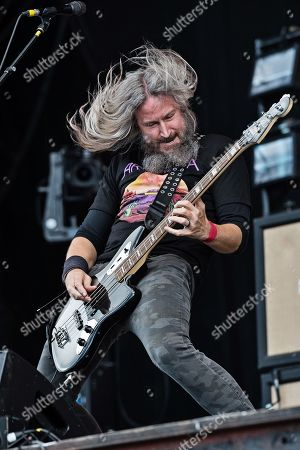 Castle Donington United Kingdom - June 9: Bassist And Vocalist Troy Sanders Of American Heavy Metal Group Mastodon Performing Live On Stage At Download Festival In Castle Donington England On June 9