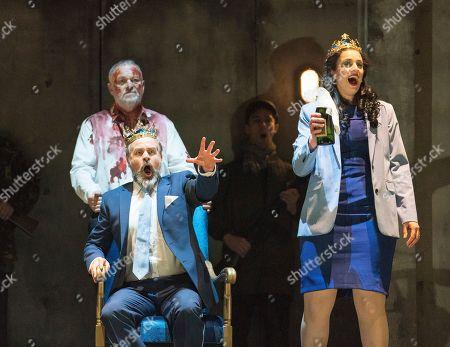 Andrew Slater as Banquo,  Grant Doyle as Macbeth, Madeleine Pierard as Lady Macbeth,