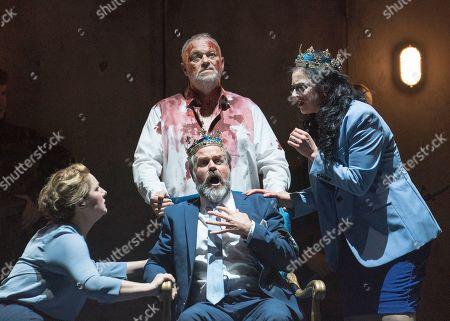Stock Image of Tanya Hurst as Nurse, Andrew Slater as Banquo,  Grant Doyle as Macbeth, Madeleine Pierard as Lady Macbeth,