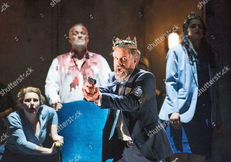 Tanya Hurst as Nurse, Andrew Slater as Banquo,  Grant Doyle as Macbeth, Madeleine Pierard as Lady Macbeth,