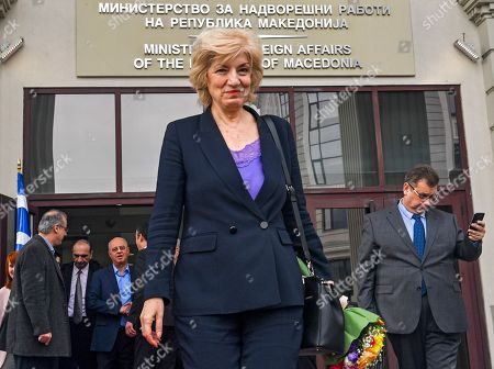 Greece's Alternate Foreign Minister Sia Anagnostopoulou   leaves the Ministry of Foreign Affairs after signing the agreement to open a new border crossing between Greece and North Macedonia in Skopje