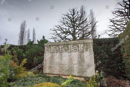 The grave of Gabreille 'Coco' Chanel in the Cimetière du Bois-de-Vaux cemetery in Lausanne, Vaud, Switzerland