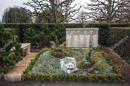Stock Picture of The grave of Gabreille 'Coco' Chanel in the Cimetière du Bois-de-Vaux cemetery in Lausanne, Vaud, Switzerland