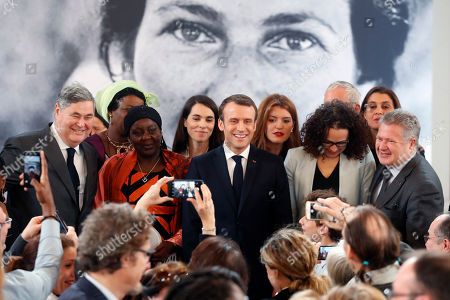 From left, Pierre-Francois Veil, Cameroonian activist Aissa Doumara Ngatansou, France President's Emmanuel Macron, Delphine Horvilleur and Jean Veil pose for a picture during the presentation of the Simone Veil prize, at the Elysee Palace, in Paris,. France's first Simone Veil prize goes to a Cameroonian activist Aissa Doumara Ngatansou who has worked against forced marriages and other violence against girls and women