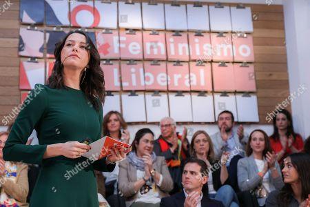 National party spokesperson Ines Arrimadas Garcia seen speaking