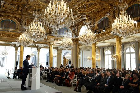 France's President Emmanuel Macron delivers a speech during the presentation of the Simone Veil prize, at the Elysee Palace, in Paris, France, 08 March 2019. France?s first Simone Veil prize goes to a Cameroonian activist Aissa Doumara Ngatansou who has worked against forced marriages and other violence against girls and women. International Women's Day (IWD) is a global day that celebrates women's achievements in socially, economically, culturally and politically and also an invitation for all elements of society to accelerate gender equality.