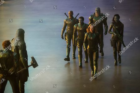 Jude Law as Yon-Rogg, Lee Pace as Ronan, Djimon Hounsou as Korath, Algenis Perez Soto as Att-Lass, Brie Larson as Captain Marvel, Rune Temte as Bron-Char and Gemma Chan as Minn-Erva