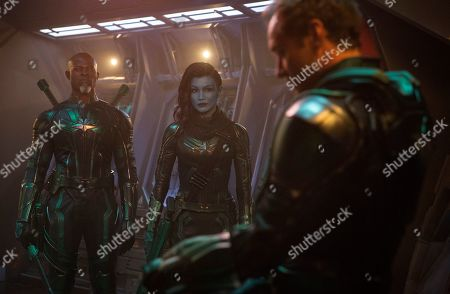 Stock Photo of Djimon Hounsou as Korath, Gemma Chan as Minn-Erva and Jude Law as Yon-Rogg