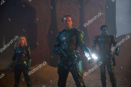 Brie Larson as Captain Marvel, Jude Law as Yon-Rogg and Algenis Perez Soto as Att-Lass