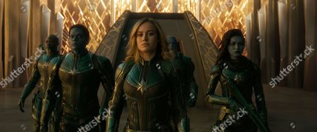Djimon Hounsou as Korath, Algenis Perez Soto as Att-Lass, Brie Larson as Captain Marvel, Rune Temte as Bron-Char and Gemma Chan as Minn-Erva
