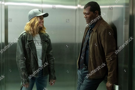 Brie Larson as Carol Danvers and Samuel L. Jackson as Nick Fury