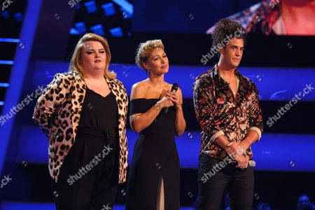 Team Olly. Lauren Hope and Harrisen Larner-Main perform. With Emma Willis