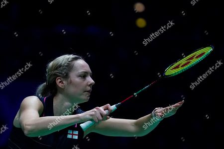 Stock Picture of England's Gabrielle Adcock in action during her mixed doubles quarter final match with teammate Chris Adcock against China's Zheng Siwei and Huang Yaqiong at the All England Open Badminton Championships at the National Indoor Arena, Birmingham, Britain, 08 March 2019.