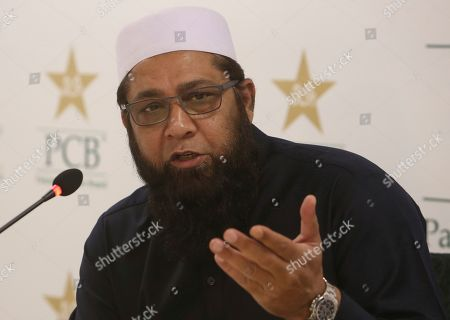 Chairman of selectors of Pakistan Cricket Board Inzamam-ul-Haq, addresses a news conference in Karachi, Pakistan, . Pakistan captain Sarfaraz Ahmed has been rested along with five other potential Cricket World Cup players for the one-day international series against Australia this month