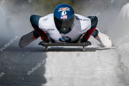 Greg West of the United States competes in the Men's Skeleton event at the IBSF Bobsleigh & Skeleton World Championships in Whistler, Canada, 8 March 2019.