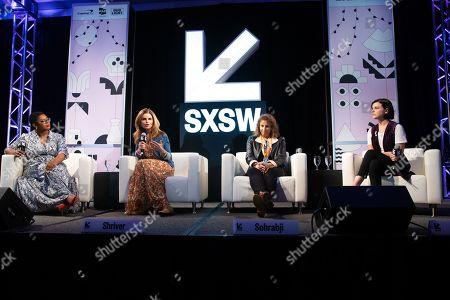 Stock Picture of Ashley C. Ford, Maria Shriver, Farida Sohrabji, and Alexandra Socha speak at the Austin Convention Center during SXSW