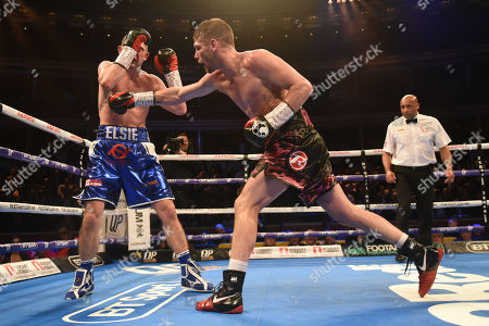 Chris Jenkins (black shorts) defeats Johnny Garton during a Boxing Show at the Royal Albert Hall on 8th March 2019