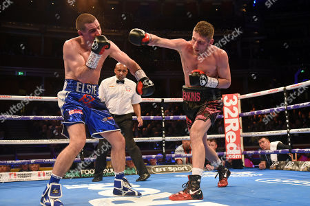 Stock Photo of Chris Jenkins (black shorts) defeats Johnny Garton during a Boxing Show at the Royal Albert Hall on 8th March 2019