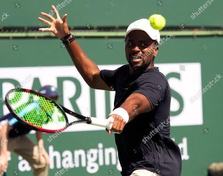 Stock Image of Donald Young of the US in action against Hubert Hurkacz of Poland during the BNP Paribas Open tennis tournament at the Indian Wells Tennis Garden in Indian Wells, California, USA, 08 March 2019. The men's and women's final will be played, 17 March 2019.
