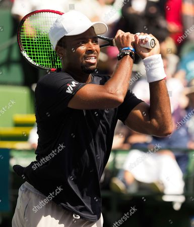 Stock Photo of Donald Young of the US in action against Hubert Hurkacz of Poland during the BNP Paribas Open tennis tournament at the Indian Wells Tennis Garden in Indian Wells, California, USA, 08 March 2019. The men's and women's final will be played, 17 March 2019.
