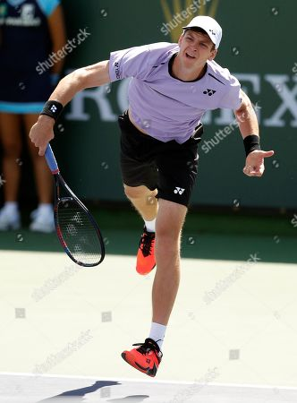 Hubert Hurkacz of Poland serves against Donald Young of the US during the BNP Paribas Open tennis tournament at the Indian Wells Tennis Garden in Indian Wells, California, USA, 08 March 2019. The men's and women's final will be played on 17 March 2019.