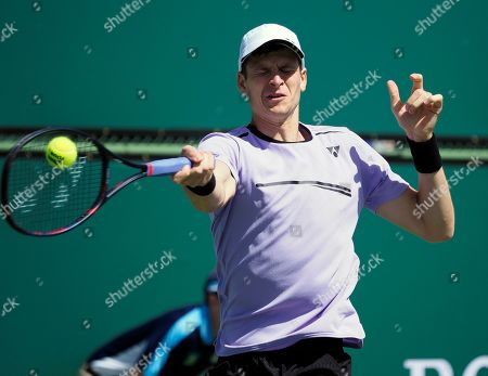 Stock Picture of Hubert Hurkacz of Poland in action against Donald Young of the US during the BNP Paribas Open tennis tournament at the Indian Wells Tennis Garden in Indian Wells, California, USA, 08 March 2019. The men's and women's final will be played on 17 March 2019.