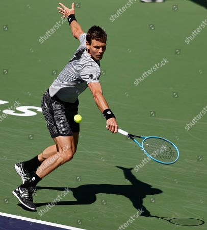 Tomas Berdych of Czech Republic in action against Feliciano Lopez of Spain during the BNP Paribas Open tennis tournament at the Indian Wells Tennis Garden in Indian Wells, California, USA, 08 March 2019. The men's and women's final will be played on 17 March 2019.